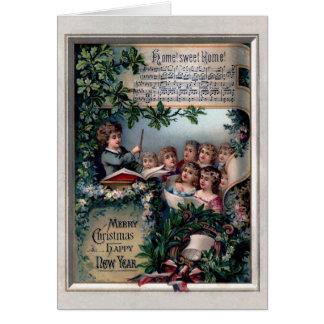 Coro del navidad tarjeton