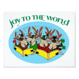 Coro del reno - alegría al mundo invitación 10,8 x 13,9 cm