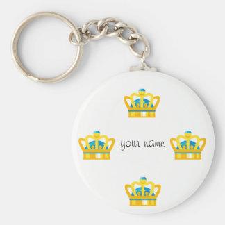 """Corona de Emoji del oro   y '' su nombre aquí """" Llavero"""