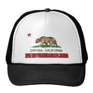 corona de la bandera de California apenada Gorras