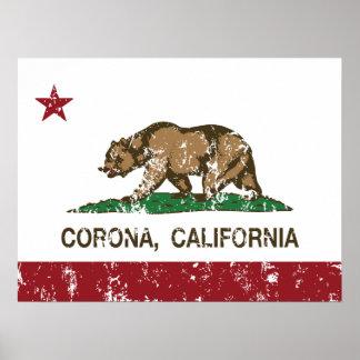 Corona de la bandera del estado de California Posters