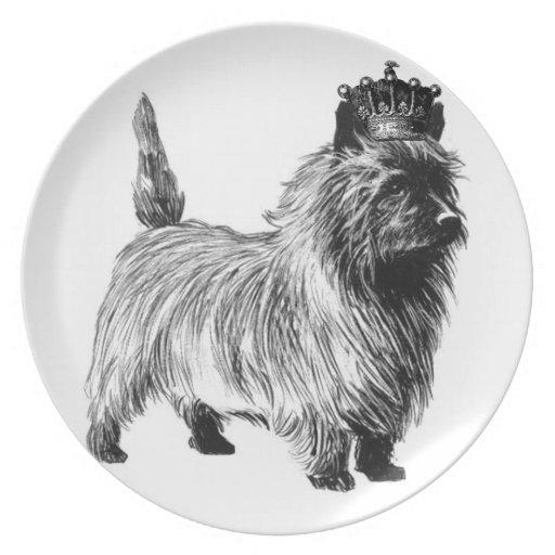 Corona del perrito del perro de Terrier de mojón Platos Para Fiestas