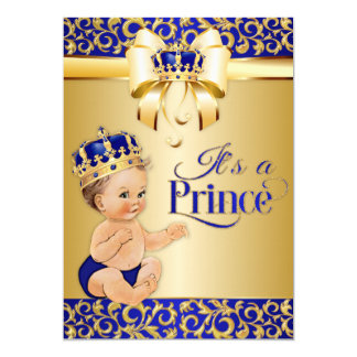 Corona del príncipe fiesta de bienvenida al bebé invitación 12,7 x 17,8 cm