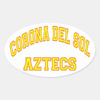 Corona del Sol Aztecs Pegatina Ovalada