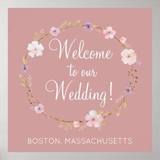 Corona floral del boda póster