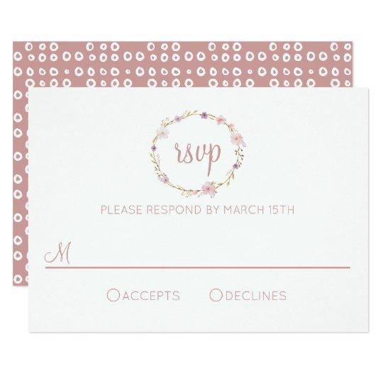 Corona floral del boda - RSVP Invitación 8,9 X 12,7 Cm