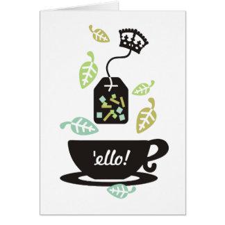 Corona moderna de la taza de té de las hojas de té tarjeta de felicitación