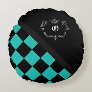 Corona personalizada del tablero de damas del cojín redondo