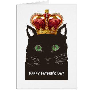 Corona que lleva feliz del gato negro del día de tarjeta de felicitación
