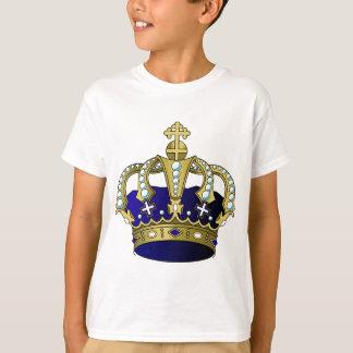 Corona real del azul y del oro camiseta