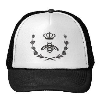 Corona real el   de la abeja reina blanco y negro gorro de camionero