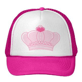 Corona rosada con el corazón gorros bordados