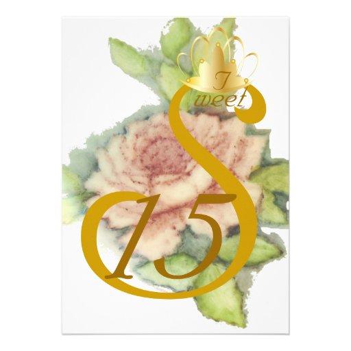 Coronación-Personalizar de oro del dulce quince de Comunicado