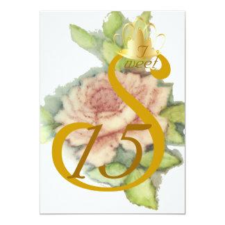 Coronación-Personalizar de oro del dulce quince Invitación 12,7 X 17,8 Cm