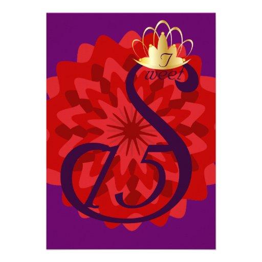 Coronación-Personalizar púrpura del dulce quince d Invitaciones Personalizada