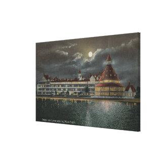Coronado CA - opinión iluminada por la luna Hotel Impresiones De Lienzo