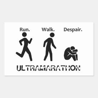 Corra la desesperación del paseo pegatina rectangular