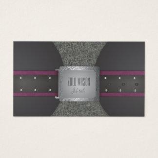 Correa de cuero de color violeta oscuro y negra tarjeta de negocios