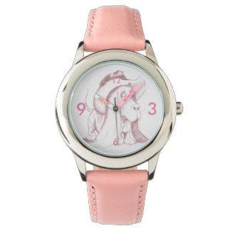 Correa de cuero inoxidable del reloj w/Pink del