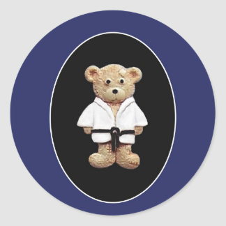 Correa negra del judo etiquetas redondas