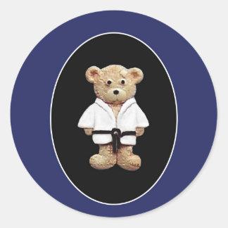 Correa negra del judo pegatina redonda
