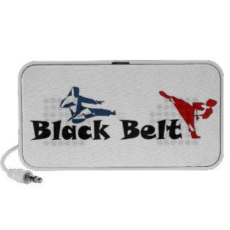 correa negra del karate de los artes marciales de altavoces de viaje