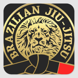 Correa negra plateada oro de Jiu-Jitsu del Pegatina Cuadrada