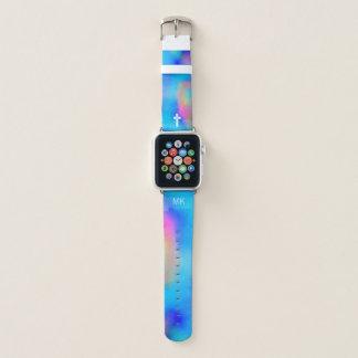 Correa Para Apple Watch Acuarelas vibrantes - cruz y monograma blancos