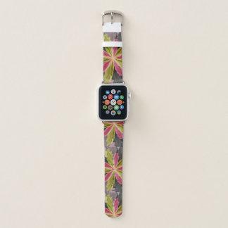 Correa Para Apple Watch Alegría, fractal de antracita verde de la flor de