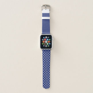 Correa Para Apple Watch Azul con Polkadot blanco