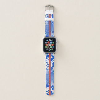 Correa Para Apple Watch Azul hawaiano de la tabla hawaiana del hibisco de