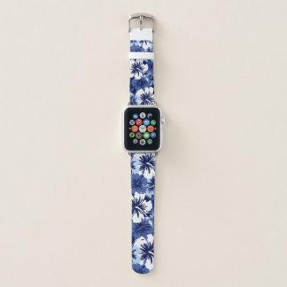 Correa Para Apple Watch Azules marinos florales hawaianos de la hawaiana