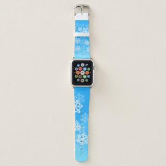 Correa Para Apple Watch Copos de nieve lindos del navidad azul y blanco