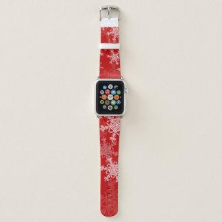 Correa Para Apple Watch Copos de nieve lindos del navidad rojo y blanco