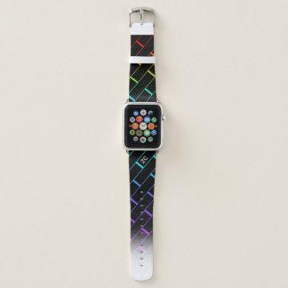 Correa Para Apple Watch El ladrillo negro con monograma y el color se