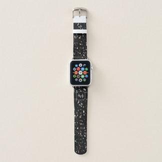 Correa Para Apple Watch El purpurina brillante blanco y negro chispea