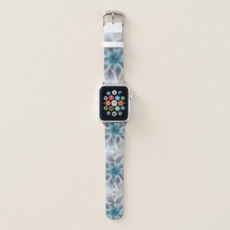 Correa Para Apple Watch Elegancia, flor azul moderna del fractal del