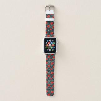 Correa Para Apple Watch Estampado de flores rojo abstracto decorativo de