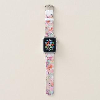 Correa Para Apple Watch Estampado de flores verde azulado rosado romántico