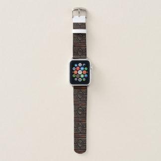 Correa Para Apple Watch Falso modelo abstracto de talla de madera de la