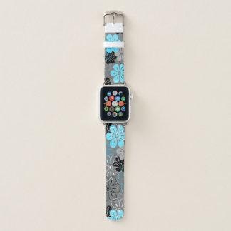 Correa Para Apple Watch Floral retro hawaiano de la lluvia de la flor -
