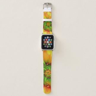 Correa Para Apple Watch Fractal colorido abstracto anaranjado del verde