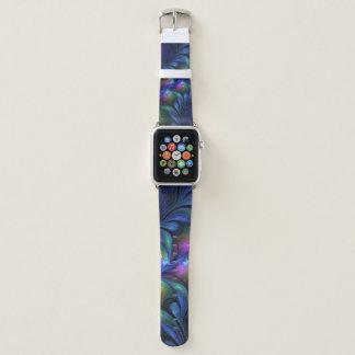 Correa Para Apple Watch Fractal verde rosado azul abstracto luminoso