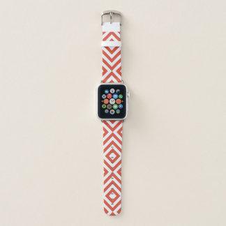 Correa Para Apple Watch Galones anaranjados y blancos geométricos,