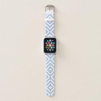 Correa Para Apple Watch Galones azules claros y blancos geométricos,