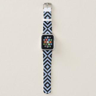 Correa Para Apple Watch Galones azules claros y negros geométricos,