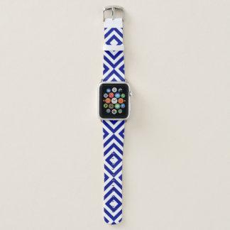 Correa Para Apple Watch Galones azules y blancos geométricos, diamantes