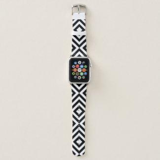 Correa Para Apple Watch Galones blancos y negros geométricos, diamantes
