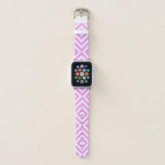 Correa Para Apple Watch Galones rosados y blancos geométricos, diamantes