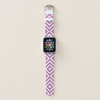 Correa Para Apple Watch Lavanda geométrica y galones blancos, diamantes